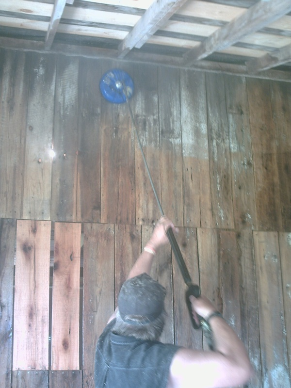 Working on cleaning the milk-barn